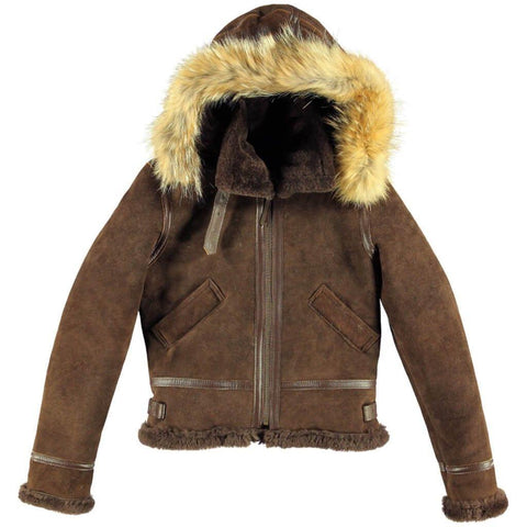 Women's F004 Suede Bomber Soft Shearling Genuine Leather Stylish Detachable Hood Brown Jacket - Home of Leather