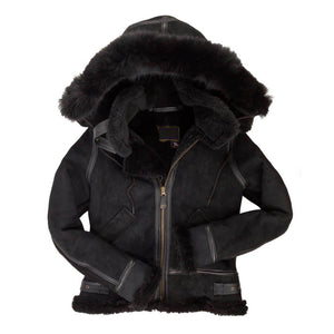 Women's F005 Suede Bomber Soft Suede Shearling Genuine Leather Stylish Detachable Hood Jacket - Home of Leather
