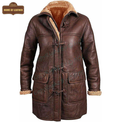 F006 Women Coat B3 Aviator Fur Shearling Hooded Jacket - Home of Leather