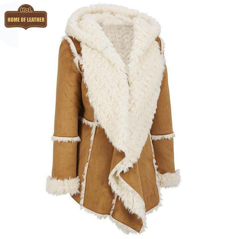 Camel Brown F009 Hooded Real Suede Leather Real Shearling Fur Overcoat - Home of Leather