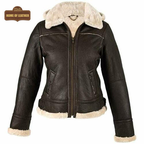 F010 Women's Hooded Bomber B3 Aviator RAF Genuine Fur Sheepskin Leather Jacket Women's Fur Jacket - Home of Leather