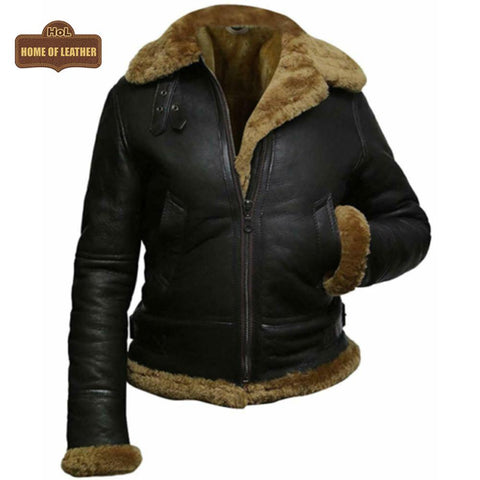F011 Women Aviator Hooded B3 Bomber Fur Shearling Real Sheepskin Leather Jacket Women's Fur Jacket - Home of Leather