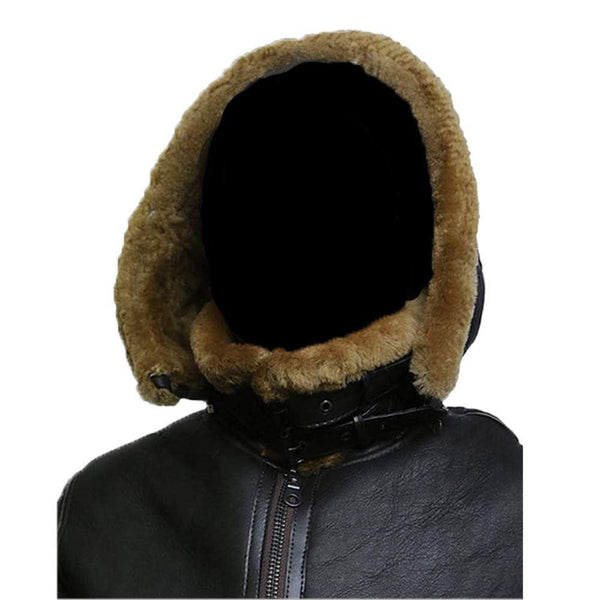 F011 Women Aviator Hooded B3 Bomber Fur Shearling Real Sheepskin Leather Jacket Women's Fur Jacket - - [HoL] [Home of Leather]