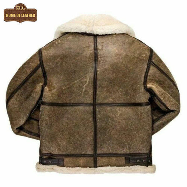 HoL B014 RAF B3 Detachable Hood Bomber Winter Khaki Men's Jacket - Home of Leather