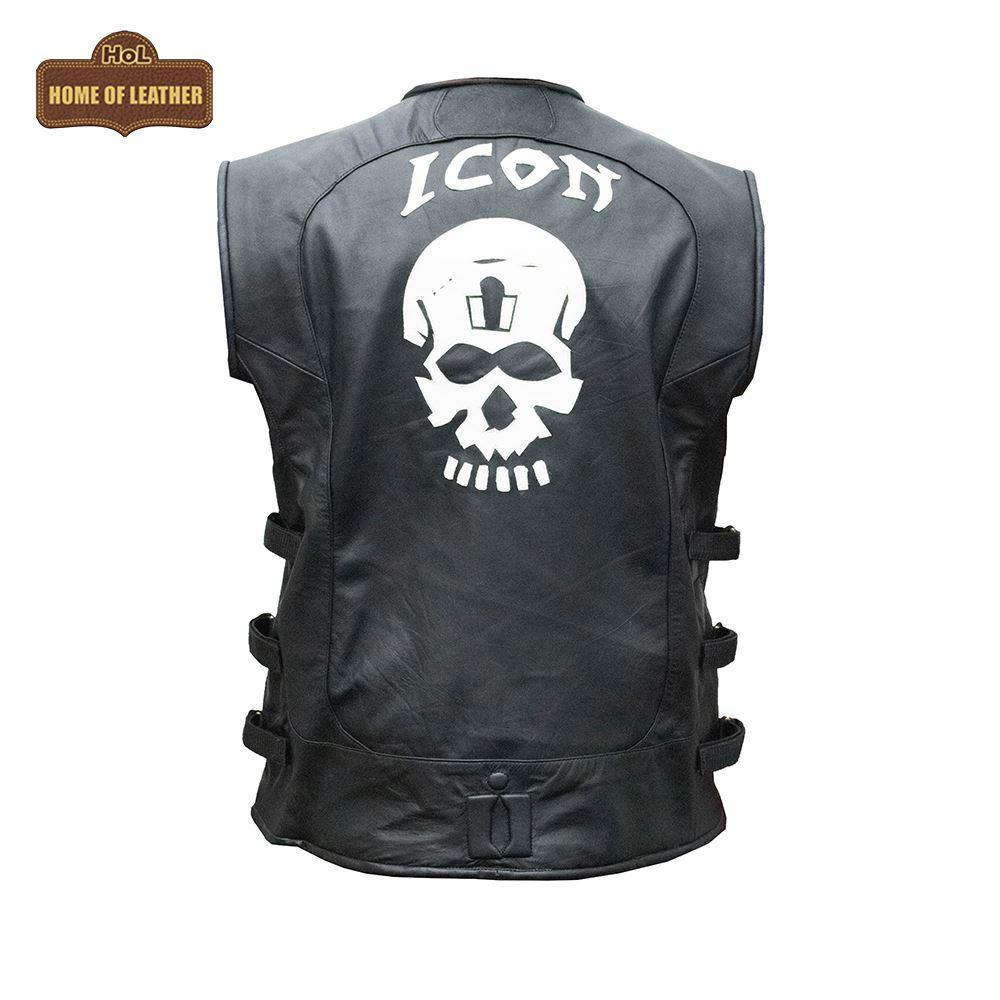 HoL Brand V001 Skull Icon Vest Real Leather Jacket - Home of Leather