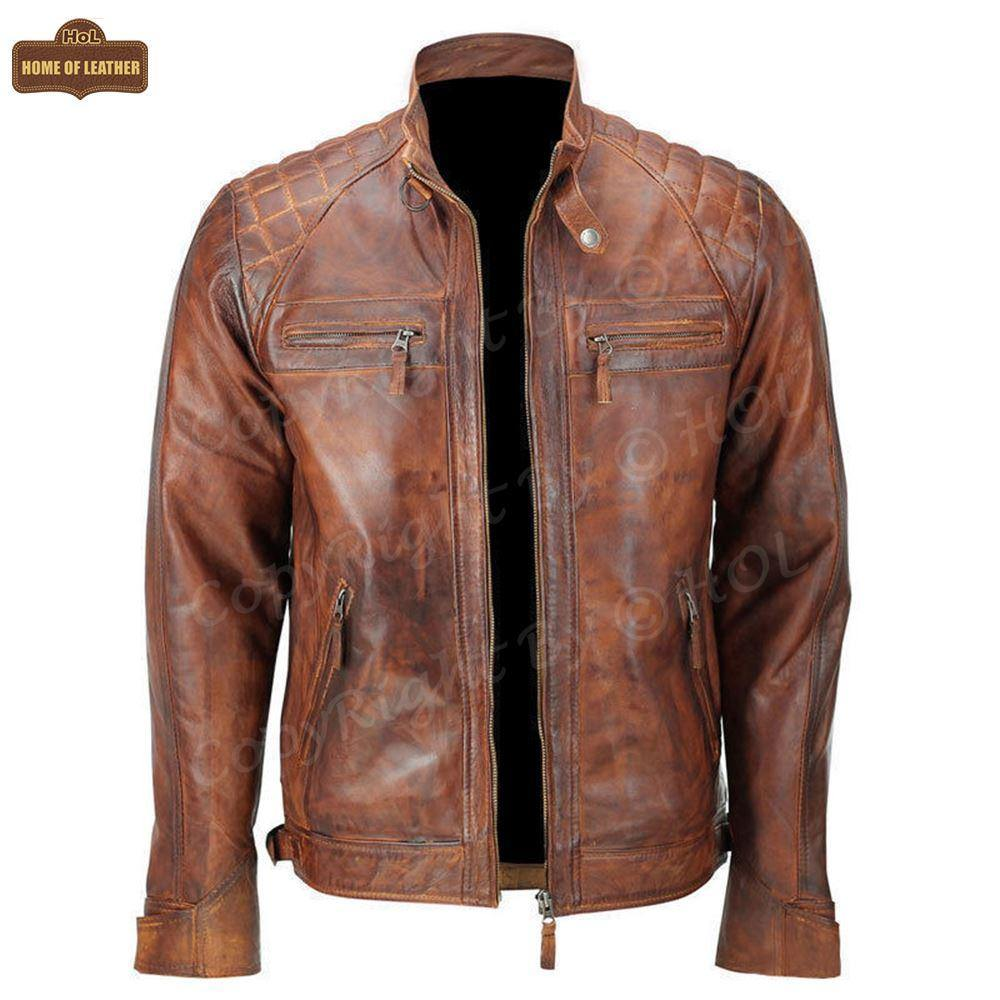 HoL M005 Men's Biker Quilted Brown Vintage Distressed Motorcycle Jacket - Home of Leather