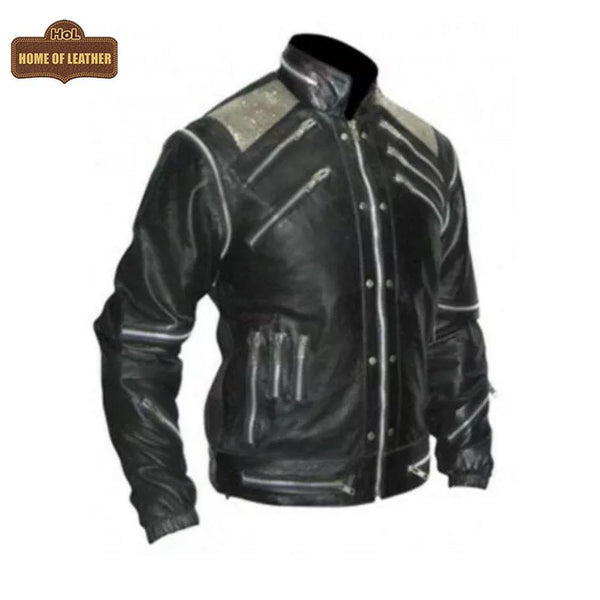 Leather Madness Michael Jackson Beat It M059 Black Genuine Leather Jacket - Home of Leather