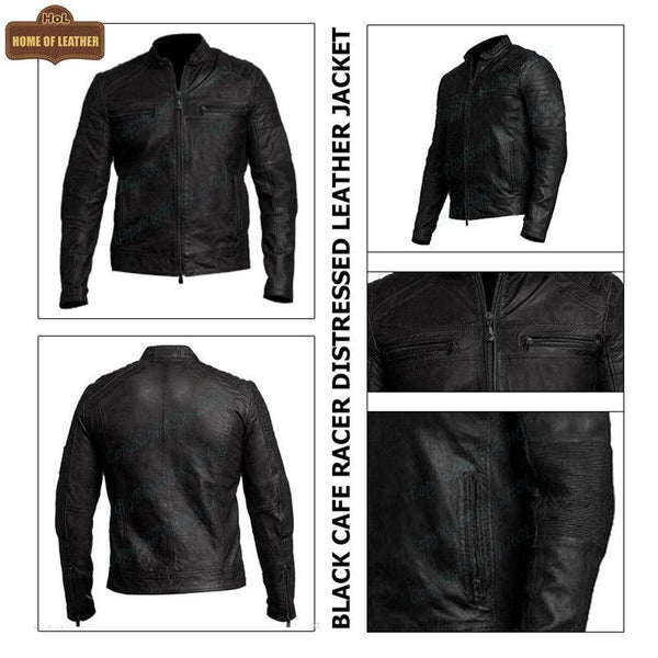 M001 Cafe Racer Black Men's Biker Vintage Motorcycle Jacket - Home of Leather