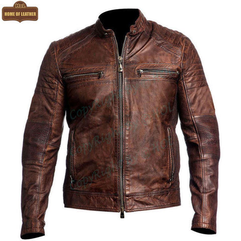 M002 Cafe Racer Men's Vintage Style Retro Brown Distressed Jacket - Home of Leather