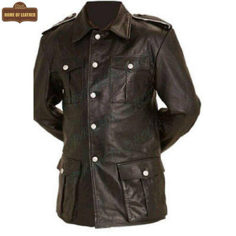 M004 Cafe Racer German Panzer Brown Coat for Men's - Home of Leather