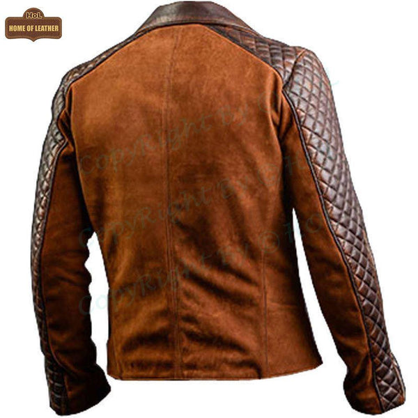 M008 Men's Cafe Racer Stylish Biker Leather Brown Jacket - Home of Leather