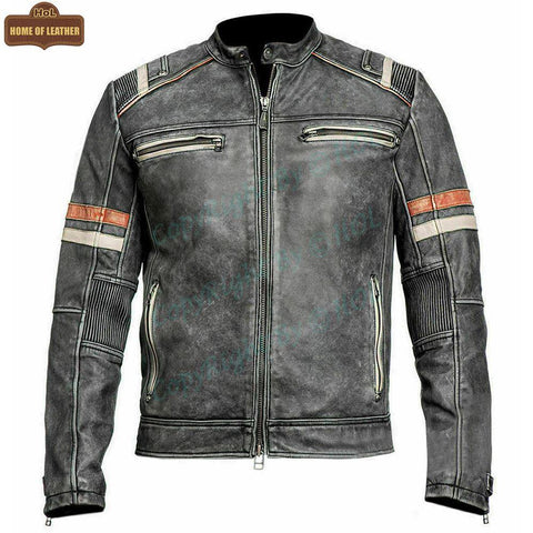 M009 Retro-2 Men Biker Vintage Motorcycle Distressed Leather Jacket - Home of Leather