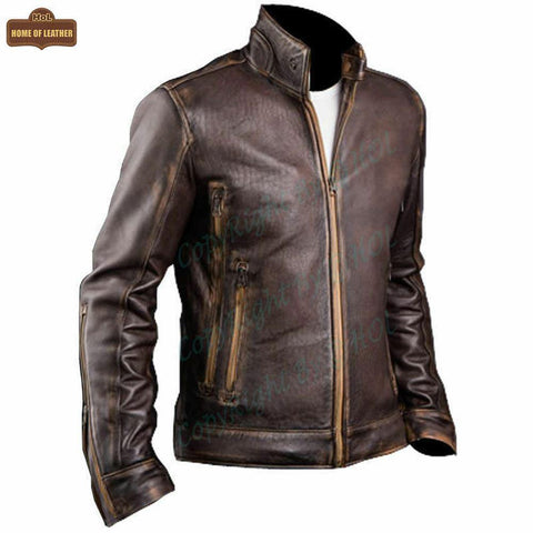 M010 Cafe Racer Stylish Distressed Brown Biker Vintage Real Leather Men's Jacket - Home of Leather