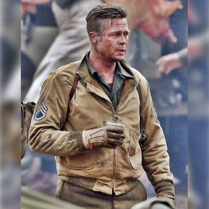 M017 Fury Brad Pitt Tanker Style WWII US Military Khaki Real Cotton Jacket For Men's - Home of Leather
