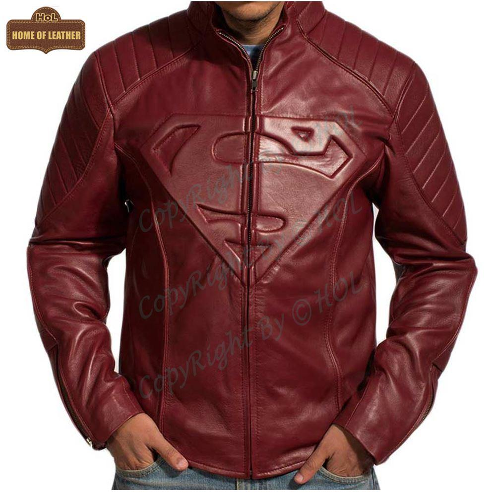 M022 Superman Smallville Tom Welling Style Emblem Faux Leather Jacket - Home of Leather