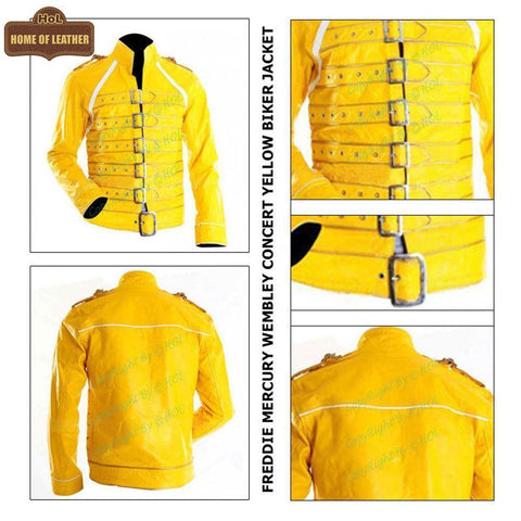 M028 Men's Freddie Mercury Wembley Concert Yellow Jacket - Home of Leather