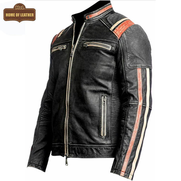 M053 Cafe Racer Retro 3 Vintage Distressed Motorcycle Black Jacket - Home of Leather