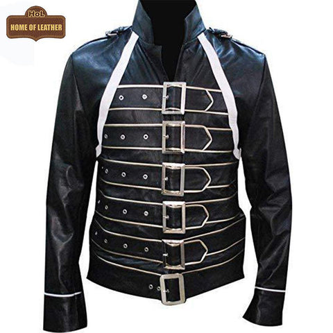 M069 Freddie Mercury Wembley Concert Black Faux Leather Jacket - Home of Leather