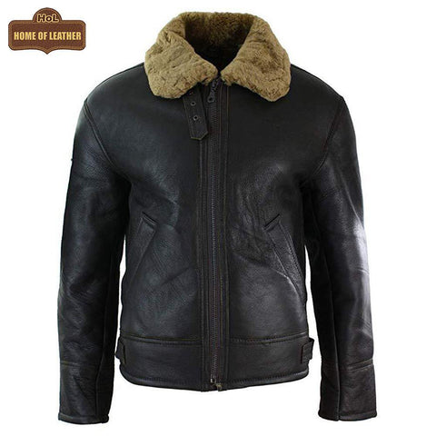 Men's B018 Aviator B3 Real Leather Shearling Sheepskin Flying Pilot Warm Winter World War Jacket Leather Jacket - Home of Leather