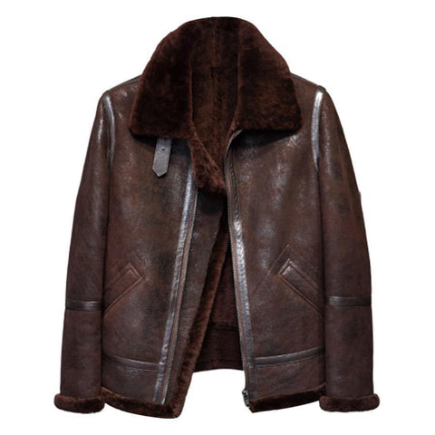 Men's B020 Dark Brown Real Shearling Fur Coat Aviation Pilot Leather Flying Jacket - Home of Leather