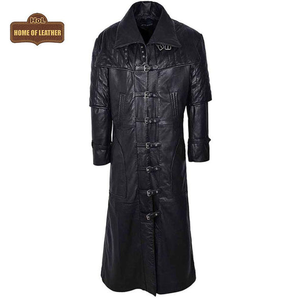 Men's Captain Full Length Van Helsing Nappa Leather Jacket Coat C017 - Home of Leather
