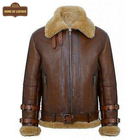 Men's Real Shearling Sheepskin Leather Pilot Aviator B021 Bomber Flying Jacket Leather Jacket - Home of Leather