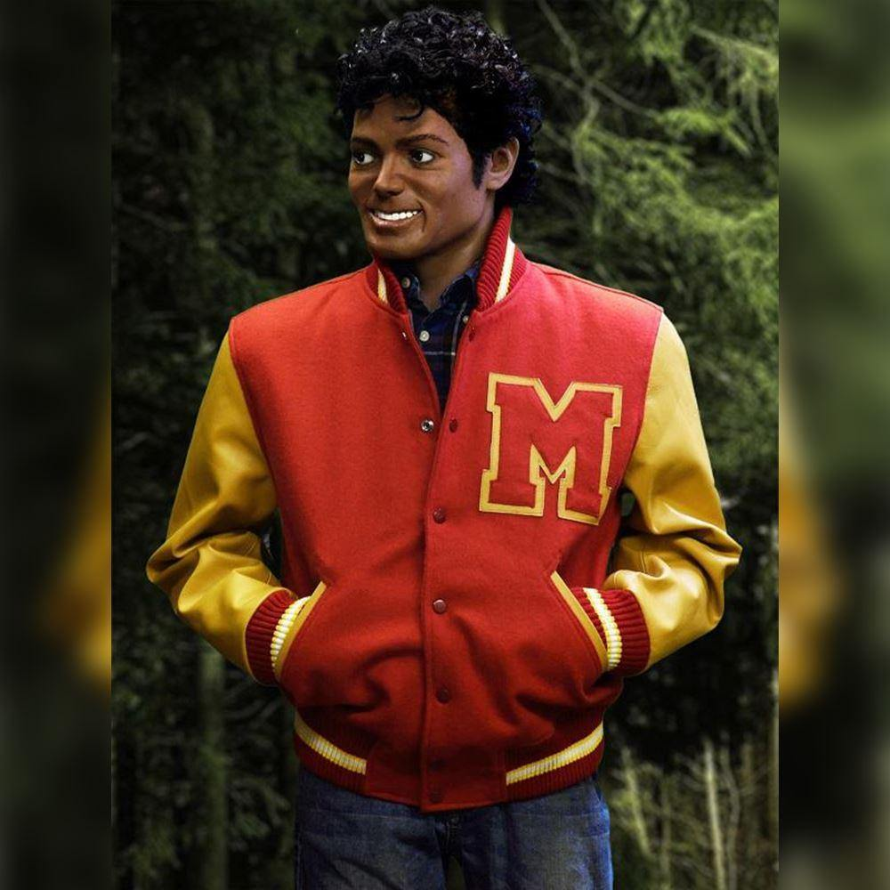 Michael Jackson M061 Thriller M Logo Varsity Summer Wear Fleece Jacket For Men's - Home of Leather