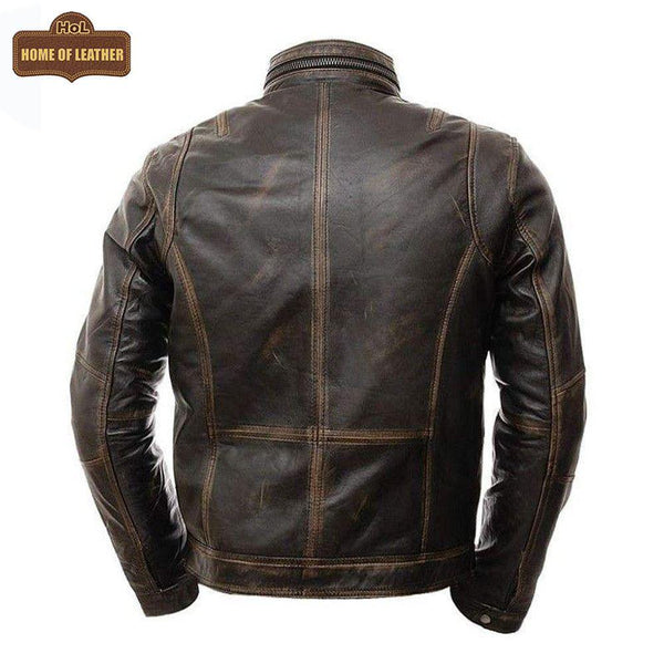 New M036 Multi Zipper Distressed Casual Wear Men's Jacket - Home of Leather
