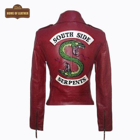 Southside Serpent Riverdale Jughead Jones Biker Maroon W014 Leather Jacket For Women's Leather Jacket - Home of Leather