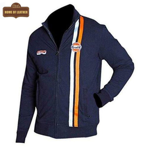 Steve McQueen Gulf Le Man Grandprix Cotton Navy Blue Racing Bomber Jacket - Home of Leather