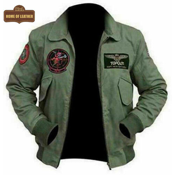 US Army Tom Cruise Top Gun M058 Green Cotton Jacket - Home of Leather