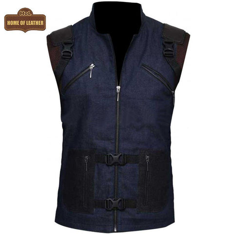 V002 HoL Branded Denim Blue Vest for Men's - Home of Leather
