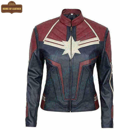 W001 Captain Marvel Carol Danvers Avengers End Game Faux Leather Biker Women's Jacket - Home of Leather