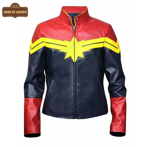 W002 Captain Marvel Carol Danvers Women's Avengers End Game Faux Leather Jacket - Home of Leather