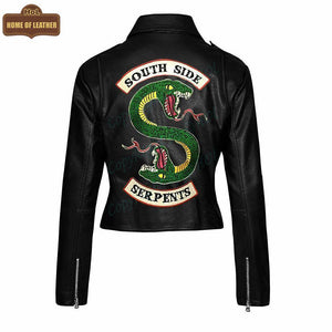 W004 South Side Serpents Black Leather Jacket - Home of Leather