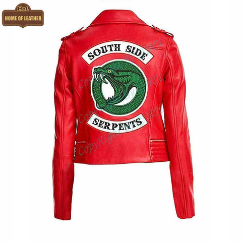 W005 South Side Serpents Red Leather Jacket - Home of Leather