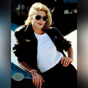 W006 Kelly McGillis Top Gun Black Fashion Real Leather Women's Military Style Jacket 2020 leather jackets - Home of Leather