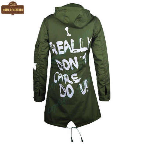 W007 Melania Trump Jacket Graffiti Printed Coat I really don't care, do u? - Home of Leather