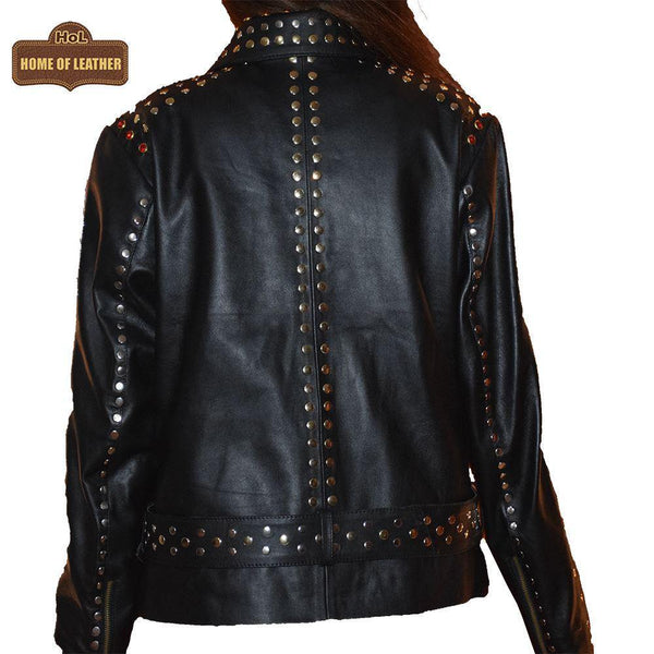 W019 Women Black Silver and Golden Studs Sheepskin Leather Jacket - Home of Leather
