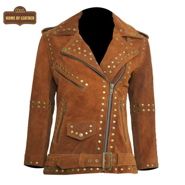 W020 Women Brown Silver Studded Brando Leather Jacket - Home of Leather