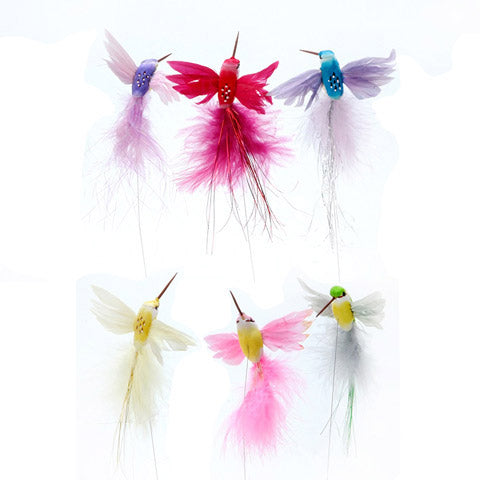 Hummingbird with Feathers - Assorted Colors - 4 inches