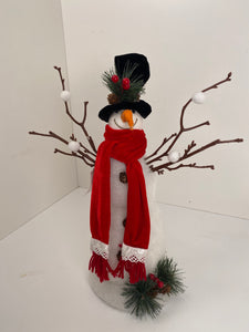 Snowman twig tabletop decor