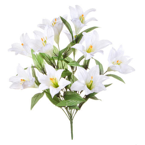 White Easter Lily Bush: 10 x 21 inches