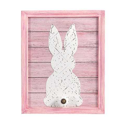 Bunny Hook Wall Plaque: Pink and White, 9.5 x 12 inches