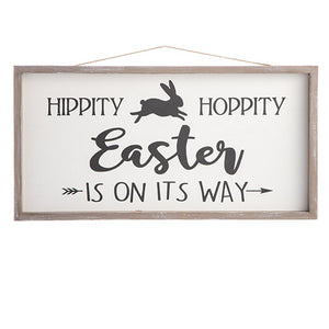 Hippity Hoppity Easter Is On Its Way Wall Sign, 18.5 x 9.5