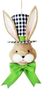 Bunny Top Hat D4xW8xH22 BW Green Bow