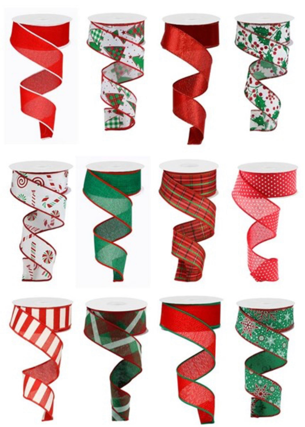 Christmas Ribbon Assortment 1.5 inchx12