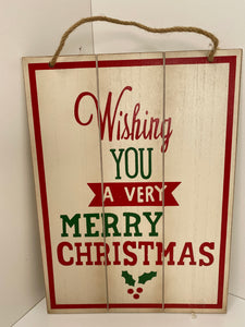 Wish You A Merry Christmas Sign