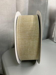 2.5 inch Buff Canvas wired Ribbon 100FT