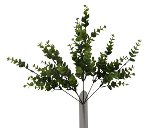 "16"" PLASTIC EUCALYPTUS BUSH X 7  TWO TONE GREEN"